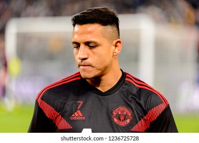 Turin - Nov 7, 2018: Alexis Sanchez 7 portrait. Juventus - Manchester United. UEFA Champions League. Matchday 4. Allianz stadium.