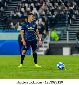 Turin - Nov 7, 2018: Alexis Sanchez 7 does a free kick. Juventus - Manchester United. UEFA Champions League. Matchday 4. Allianz stadium.