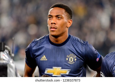 Turin - Nov 7, 2018: Anthony Martial 11 listens the anthem portrait. Juventus - Manchester United. UEFA Champions League. Matchday 4. Allianz stadium.