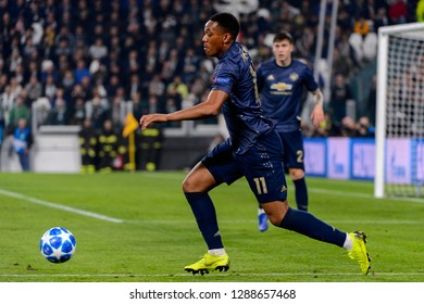 Turin - Nov 7, 2018: Anthony Martial 11 comtrols the ball. Juventus - Manchester United. UEFA Champions League. Matchday 4. Allianz stadium.