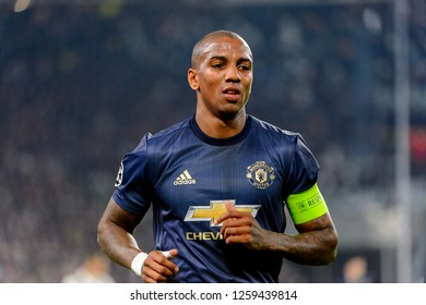 Turin - Nov 7, 2018: Ashley Young 18 portrait. Juventus - Manchester United. UEFA Champions League. Matchday 4. Allianz stadium.