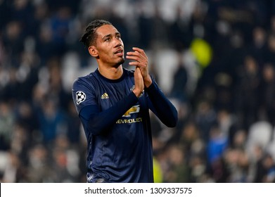Turin - Nov 7, 2018: Chris Smalling 12 celebrates. Juventus - Manchester United. UEFA Champions League. Matchday 4. Allianz stadium.