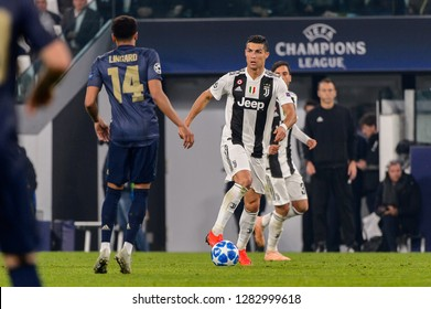 Turin - Nov 7, 2018:  Cristiano Ronaldo 7 attacks. Juventus - Manchester United. UEFA Champions League. Matchday 4. Allianz stadium.