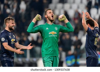 Turin - Nov 7, 2018: David De Gea 1 celebrates the goal. Juventus - Manchester United. UEFA Champions League. Matchday 4. Allianz stadium.