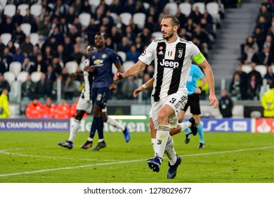 Turin - Nov 7, 2018:  Giorgio Chiellini 3. Juventus - Manchester United. UEFA Champions League. Matchday 4. Allianz stadium.