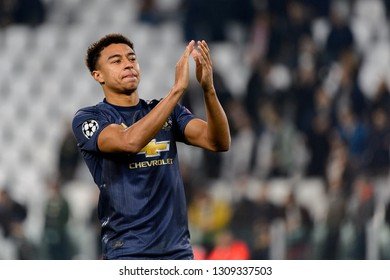 Turin - Nov 7, 2018: Jesse Lingard 14 celebrates the goal. Juventus - Manchester United. UEFA Champions League. Matchday 4. Allianz stadium.