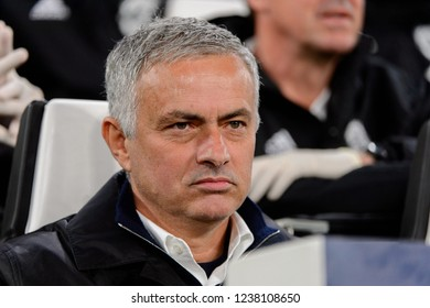 Turin - Nov 7, 2018: Jose Mourinho, the MU manager portrait. Juventus - Manchester United. UEFA Champions League. Matchday 4. Allianz stadium.