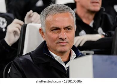 Turin - Nov 7, 2018: Jose Mourinho, the MU manager sarcastic portrait. Juventus - Manchester United. UEFA Champions League. Matchday 4. Allianz stadium.