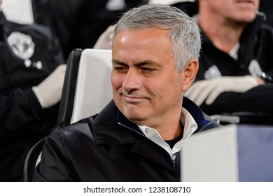 Turin - Nov 7, 2018: Jose Mourinho, the MU manager sarcastic portrait. Juventus - Manchester United. UEFA Champions League. Matchday 4. Allianz stadium.