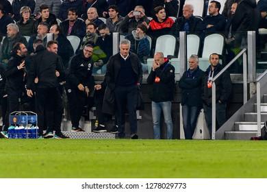 Turin - Nov 7, 2018: Jose Mourinho, the MU manager. Juventus - Manchester United. UEFA Champions League. Matchday 4. Allianz stadium.