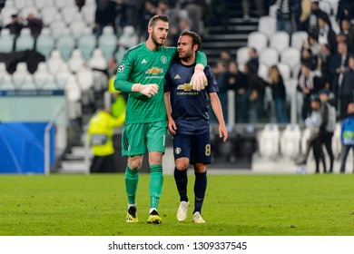 Turin - Nov 7, 2018: Juan Mata 8 and David de Gea. Juventus - Manchester United. UEFA Champions League. Matchday 4. Allianz stadium.