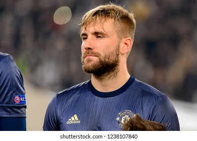 Turin - Nov 7, 2018: Luke Shaw 23 close up portrait. Juventus - Manchester United. UEFA Champions League. Matchday 4. Allianz stadium.