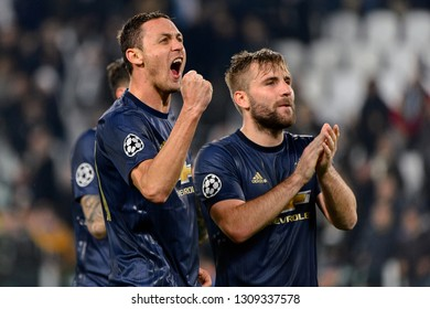Turin - Nov 7, 2018: Nemanja Matic 31 celebrates. Juventus - Manchester United. UEFA Champions League. Matchday 4. Allianz stadium.
