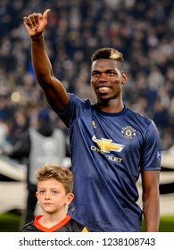 Turin - Nov 7, 2018: Paul Pogba 6 smiles close up portrait. Juventus - Manchester United. UEFA Champions League. Matchday 4. Allianz stadium.