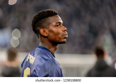 Turin - Nov 7, 2018: Paul Pogba 6 close up portrait. Juventus - Manchester United. UEFA Champions League. Matchday 4. Allianz stadium.