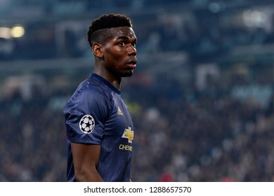 Turin - Nov 7, 2018: Paul Pogba 6 portrait. Juventus - Manchester United. UEFA Champions League. Matchday 4. Allianz stadium.