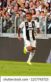 TURIN - OCT 20, 2018:  Alex Sandro. Juventus F.C. - Genoa C.F.C. Alliaz Stadium. Italian league Serie A.