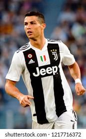 TURIN - OCT 20, 2018:  Cristiano Ronaldo portrait. Juventus F.C. - Genoa C.F.C. Alliaz Stadium. Italian league Serie A.