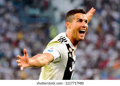 TURIN - OCT 20, 2018:  Cristiano Ronaldo celebtates the goal he scored. Juventus F.C. - Genoa C.F.C. Alliaz Stadium. Italian league Serie A.