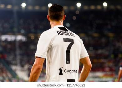TURIN - OCT 20, 2018:  Cristiano Ronaldo. Juventus F.C. - Genoa C.F.C. Alliaz Stadium. Italian league Serie A.