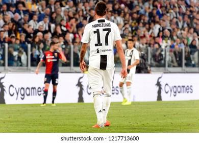 TURIN - OCT 20, 2018: Mario Mandzukic from behind.  Juventus F.C. - Genoa C.F.C. Alliaz Stadium. Italian league Serie A.