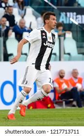 TURIN - OCT 20, 2018: Mario Mandzukic in action.  Juventus F.C. - Genoa C.F.C. Alliaz Stadium. Italian league Serie A.