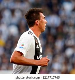 TURIN - OCT 20, 2018: Mario Mandzukic portrait.  Juventus F.C. - Genoa C.F.C. Alliaz Stadium. Italian league Serie A.