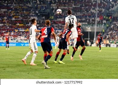 TURIN - OCT 20, 2018: Mario Mandzukic jumps for the ball.  Juventus F.C. - Genoa C.F.C. Alliaz Stadium. Italian league Serie A.