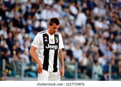 TURIN - OCT 20, 2018: Mario Mandzukic.  Juventus F.C. - Genoa C.F.C. Alliaz Stadium. Italian league Serie A.