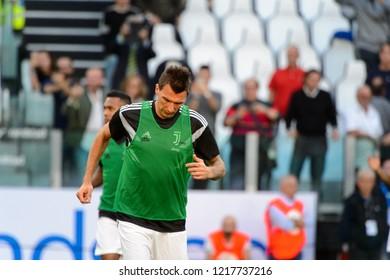 TURIN - OCT 20, 2018: Mario Mandzukic warms up.  Juventus F.C. - Genoa C.F.C. Alliaz Stadium. Italian league Serie A.