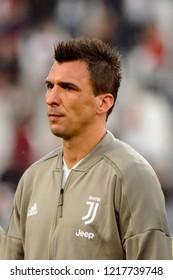 TURIN - OCT 20, 2018: Mario Mandzukic in a jacket before the match.  Juventus F.C. - Genoa C.F.C. Alliaz Stadium. Italian league Serie A.