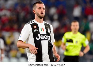 TURIN - OCT 20, 2018:  Miralem Pjanic close up portrait. Juventus F.C. - Genoa C.F.C. Alliaz Stadium. Italian league Serie A.