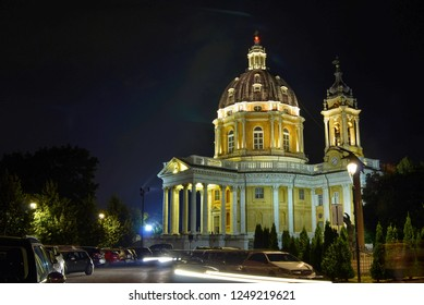 Turin, Piedmont, August 2018. Italy. Exteriors of the Basilica di Superga at night. Night lighting enhances its imposing beauty.