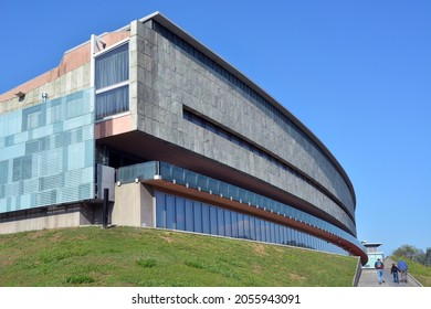Turin, Piedmont, Italy -10-10-2021- The exteriors of the National Automobile Museum (Museo Nazionale dell'Automobile).