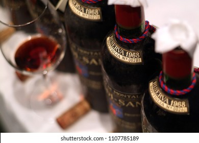 "Turin, Piedmont, Italy. -10/26/2009- Fair ""Wine show"", aged Tuscan red wine Brunello di Montalcino."
