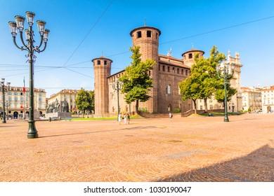 Turin, Piedmont, Italy, 18 August 2017. The Medieval Acaja Castle in Castle Square in Turin, Piedmont, Italy.