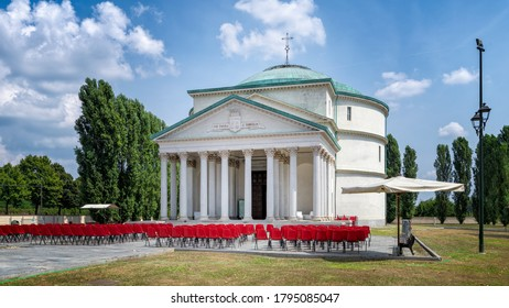 "Turin, Piedmont, Italy - August 12, 2020: Panoramic view of the Mausoleum of ""Bela Rosin"", public library in Turin"