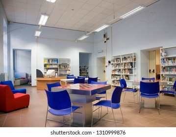 "Turin, Piedmont, Italy - June 27, 2008: Interior of the little public library ""Shéhérazade""."