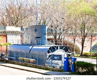Turin, Piedmont, Italy - March 28, 2019: The Andrea Provana is a former submarine of the Italian Navy of the First World War era, exhibited in Turin along the Po since 1933