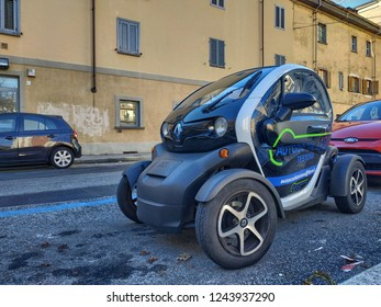 Turin, Piedmont, Italy. November 2018. Walking around the Renault Twizy: we can see the compactness of this two-seater electric motorized quadricycle. On the muzzle Z.E. indicates zero emissions.