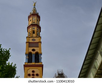Turin, Piedmont region, Italy. May 2018. Church of Our Lady of Suffrage and Santa Zita. Its bell tower, with its 83 meters, is the fifth highest summit of the city of Turin.
