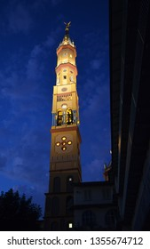 Turin, Piedmont region, Italy. May 2018. Night view of Church of Our Lady of Suffrage and Santa Zita. Its bell tower, with its 83 meters, is the fifth highest summit of the city of Turin.