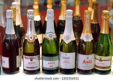 "Turin, Piedmont/Italy -10/24/2009- The ""Wineshow Fair"". Bottles of white sparkling wine Asti."