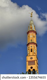 Turin, region of Piedmont, Italy. May 2018. View of the bell tower of the Church of Our Lady of Suffrage and Santa Zita. With its 83 meters, it is the fifth highest peak in the city of Turin.