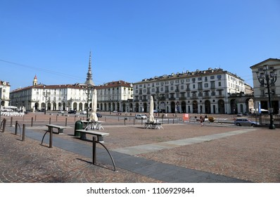Turin, TO, Italy - August 27, 2015: Piazza Vittorio Veneto is the main square ofe the Italian city. On background there's the Top of the famous monument called Mole Antonelliana