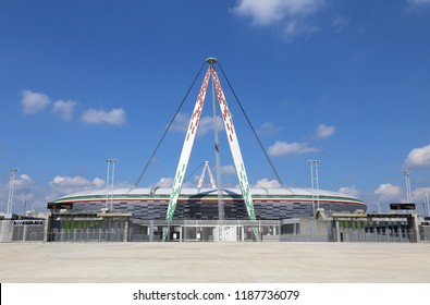 Turin, TO, Italy - August 27, 2015:  wide full view of the huge Juventus Stadium without any person on a sunny day