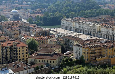 Turin, TO, Italy - August 27, 2015: Vittorio Veneto Square and the Church of Gran Madre di Diowith big Dome