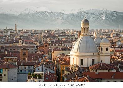 Turin (Torino), panorama with snowy Alps