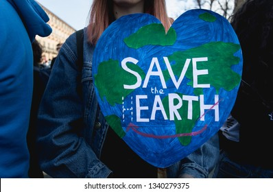 Turin (Torino), Piedmont, Italy - March 15th 2019: save the earth sign during fridays for future strike