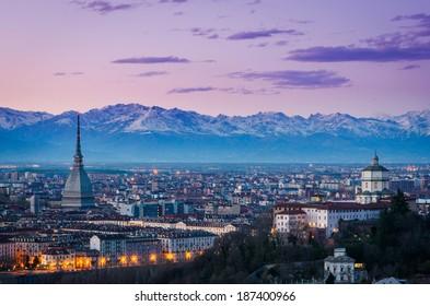 Turin (Torino), twilight panorama with Mole Antonelliana and Alps